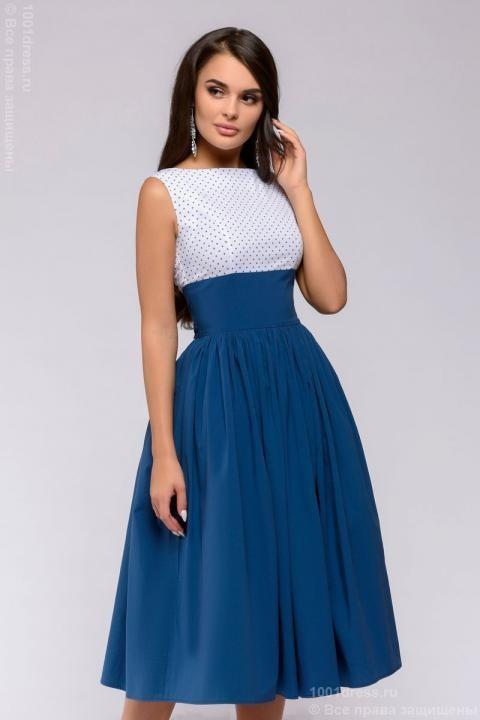 2479890f5b97416 Купить синее платье длины миди с верхом в горошек и пышной юбкой в ...